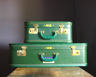 Vintage Emerald Green Suitcase and Carry-On | by TheFancyLamb