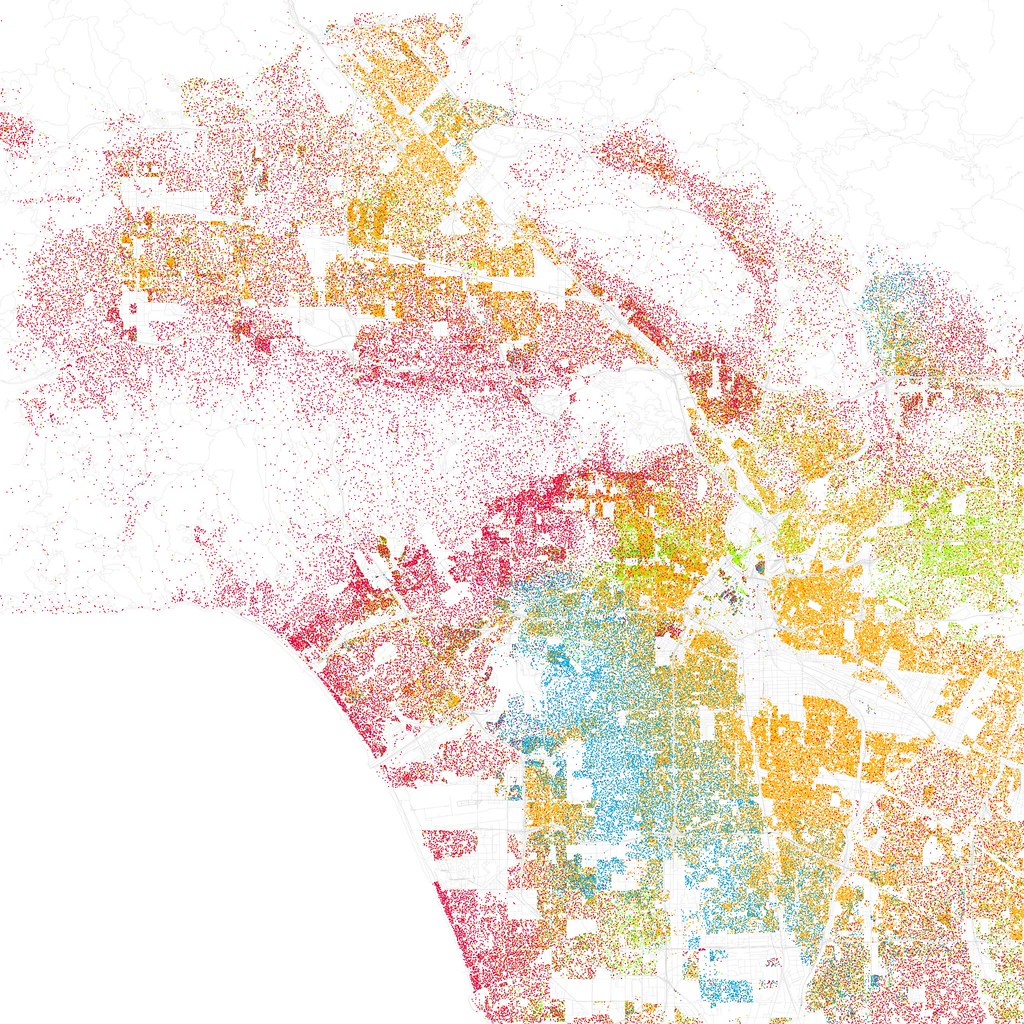 Colorful map of Los Angeles showing different colored dots to represent race and ethnicity. Some areas are more red, some blue, some yellow, a few green.