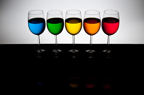 Playing with food color - 5 glasses back light only | by udijw