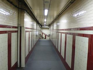 passageway to emergency stairs, Belsize Park Undergound station, London