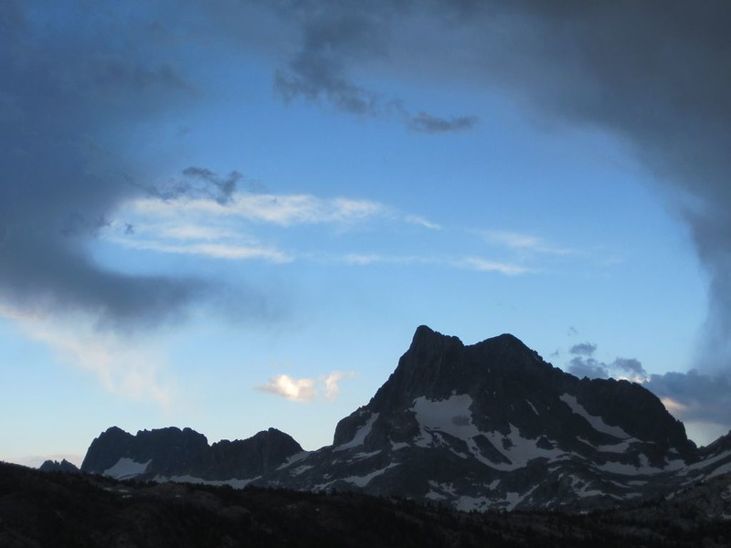 Storm clouds breaking up over the Minarets, Banner, and Ritter
