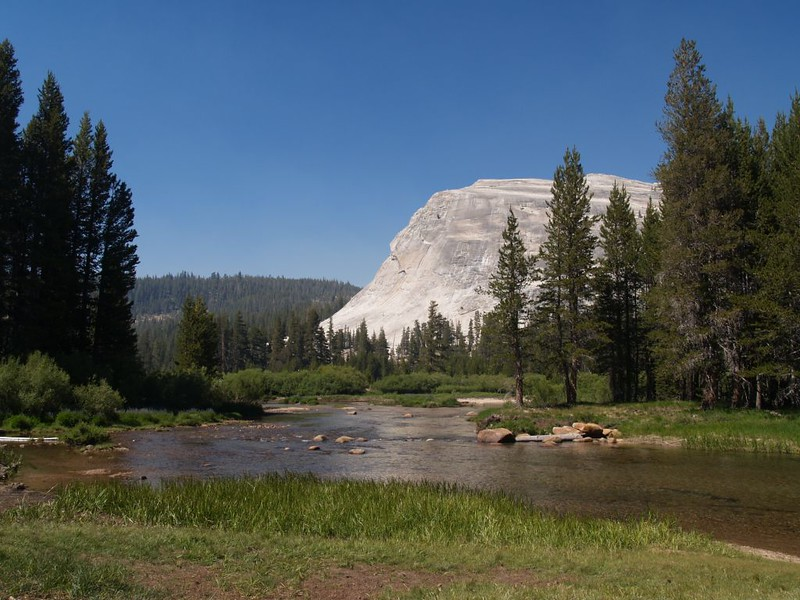 Lembert Dome and the Tuolumne River from the Tuolumne Meadows Campground