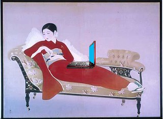 Woman Blogger, after Nakamura Daizaburo | by Mike Licht, NotionsCapital.com