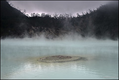 7 July 2016: Crater of Kawah Putih, Bandung, Java, Indonesia.