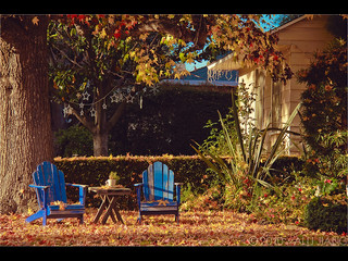 a pair of blue chairs. | by Alli Jiang
