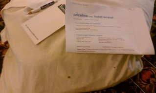 Again pillow with stain and copy of Reservation conf from Priceline | by Platinum14u