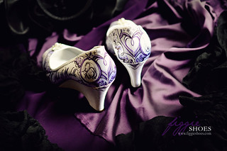 "Michelle N | Elegant Romantic Purple Lace Bridal Wedges | by Figgie (a.k.a. ""The Girl With the Shoes"")"