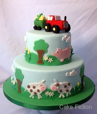 Tractor and Farm Animals Birthday Cake | by Paula at Cake Fiction