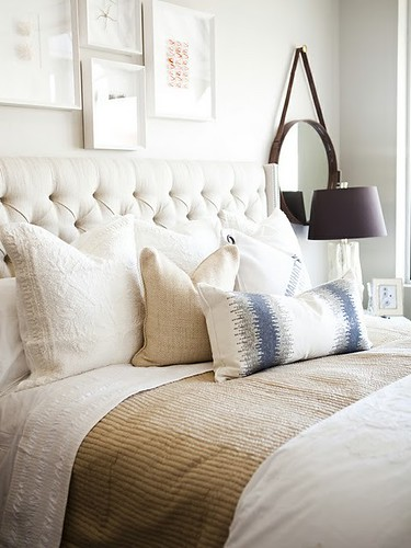 bedroom white linens ikat accent | by The Estate of Things