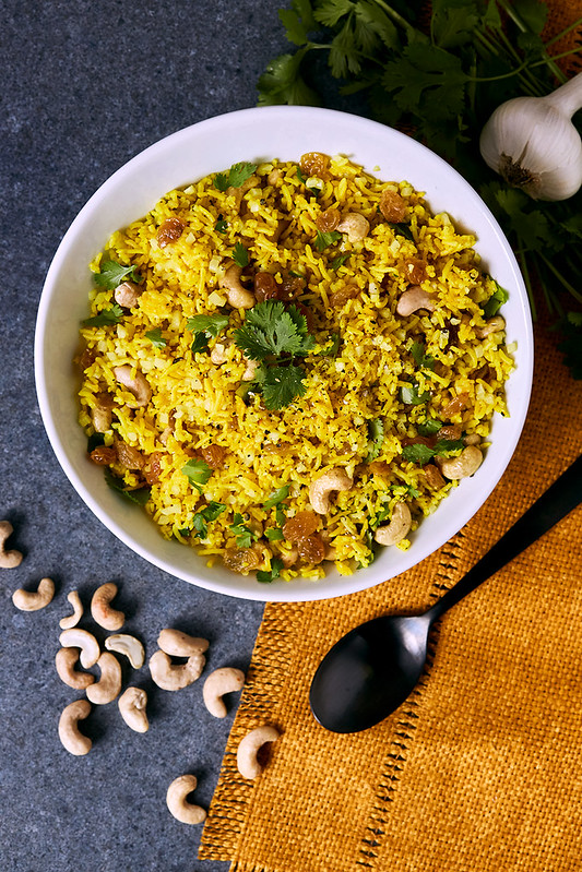 Golden Rice and Cauliflower Pilaf