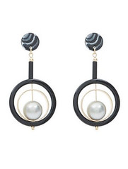New Look black and pearl drop earrings