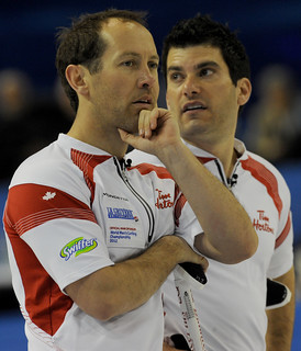 Basel Switzerland.April7_2012.Men's World Curling Championship.Canadian 2nd.Brent Laing,lead Craig Savill.CCA/michael burns photo | by seasonofchampions