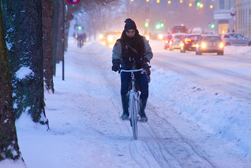 Snowstorm Backlight - Winter Cycling in Copenhagen | by Mikael Colville-Andersen