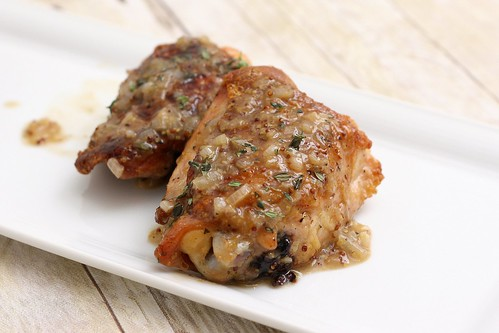 Pan-Seared Chicken Thighs w/Beer and Grainy Mustard Sauce | by Tracey's Culinary Adventures