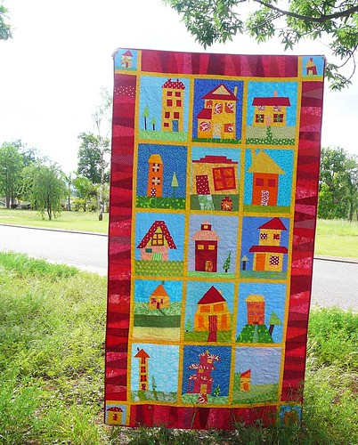 wonky house quilt finished Made with blocks from Around th? Flickr
