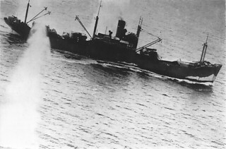 Japanese Transport under attack during the Battle of the Bismark Sea