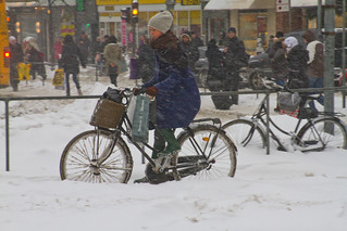 Snowstorm Shopping Transport - Winter Cycling in Copenhagen | by Mikael Colville-Andersen