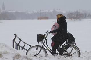 Snowstorm Headwind Mobile Chat - Winter Cycling in Copenhagen | by Mikael Colville-Andersen