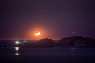 Moon setting over Point Bonita Lighthouse | by JeffSFO
