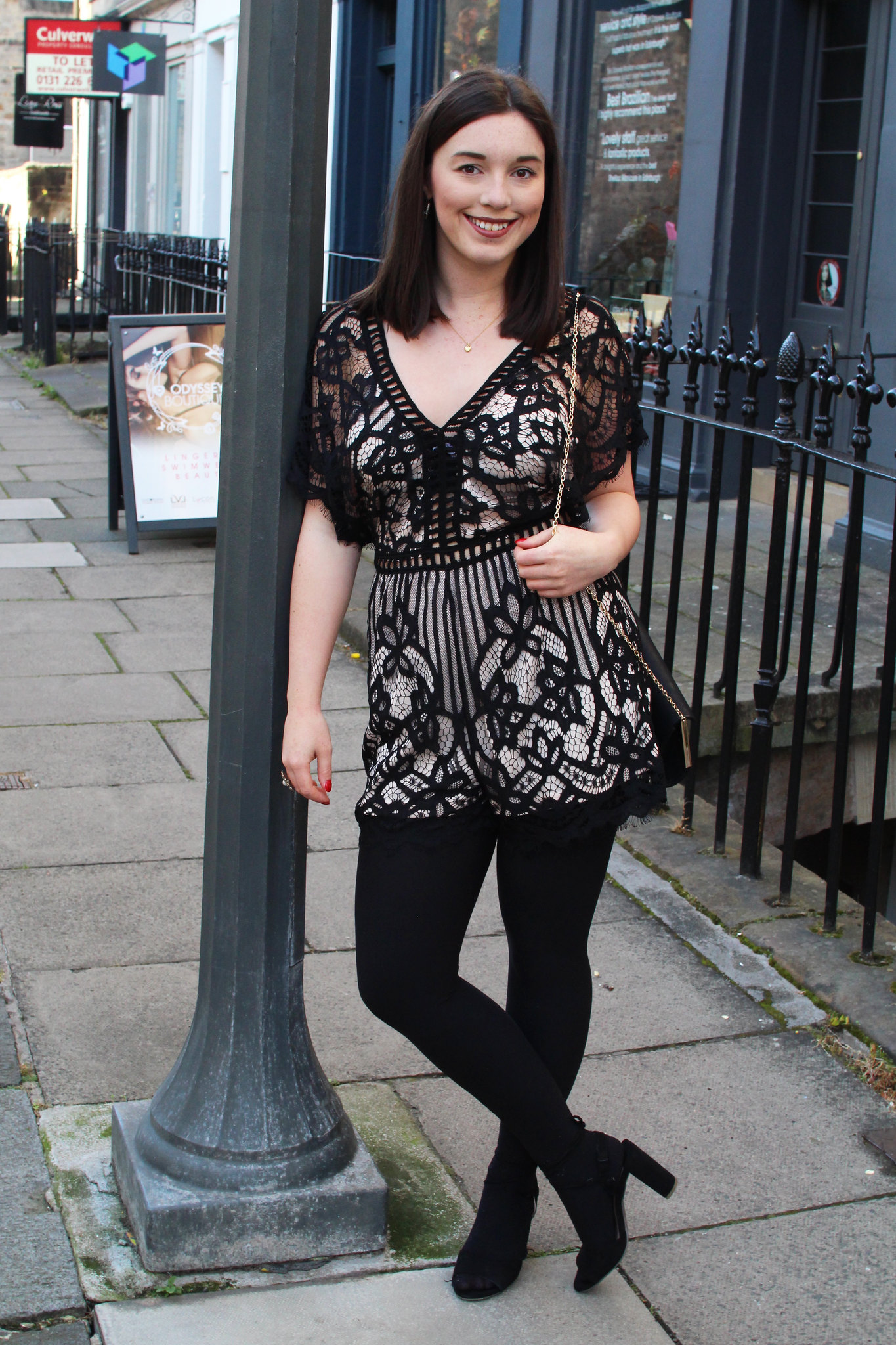 Quiz fashion lace playsuit UK fashion blogger Edinburgh