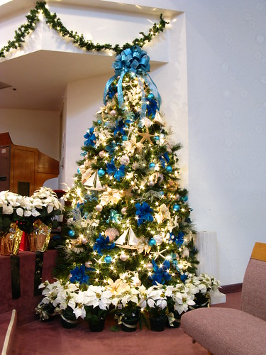 Blue And Beige Ocean Themed Christmas Tree Another View