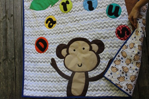 Juggling Monkey Palm Tree Baby Quilt