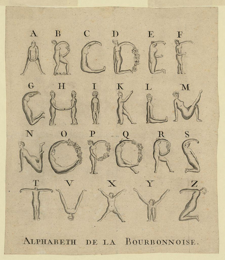 Alphabeth de la Bourbonnoise  human alphabet