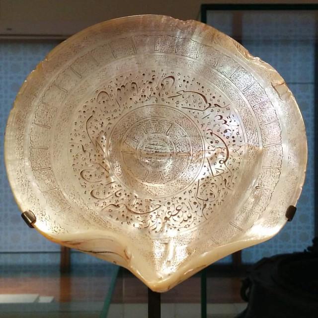 Inscribed scallop shell #toronto #agakhanmuseum #hindustan #india #iran #quran #scallop #shell
