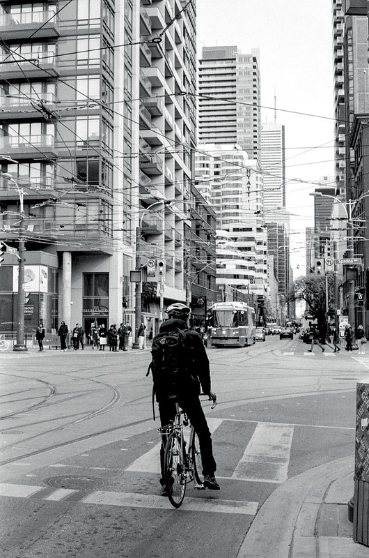 Waiting Paitently at King and Spadina on the Bike