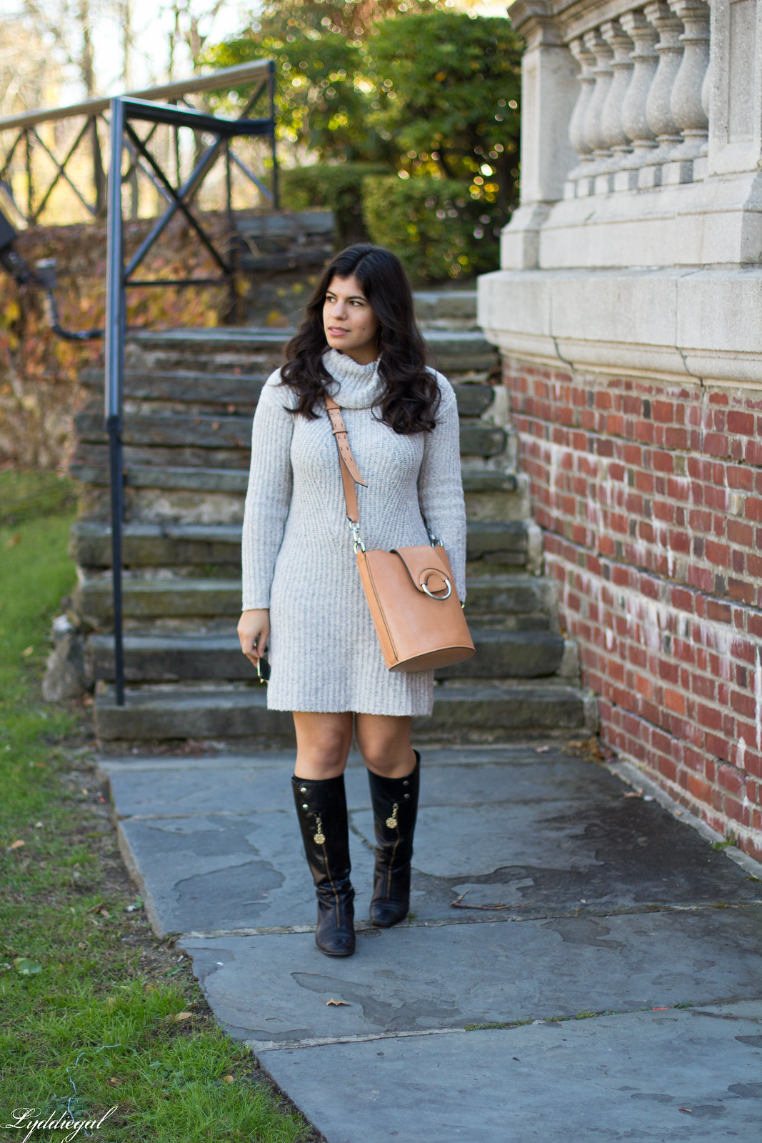 grey sweater dress, black boots, bucket bag-2.jpg