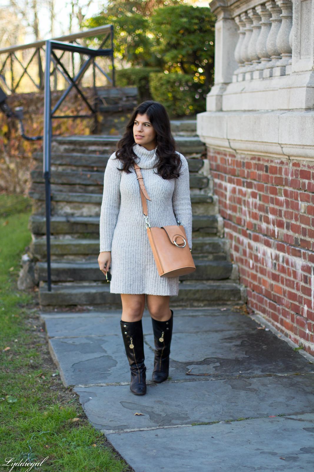 grey sweater dress, black boots, bucket bag-2.jpg