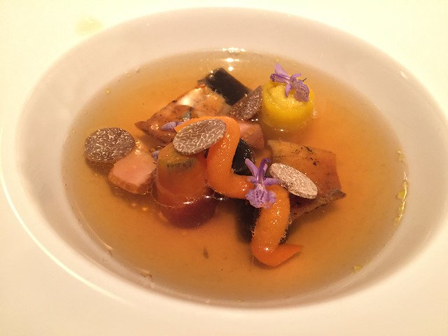 Monterey bay abalone, truffle, carrot/zucchini in Chicken dashi consomme