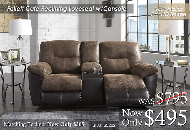 Follet Cafe Reclining Loveseat wConsole 65202-94-SET