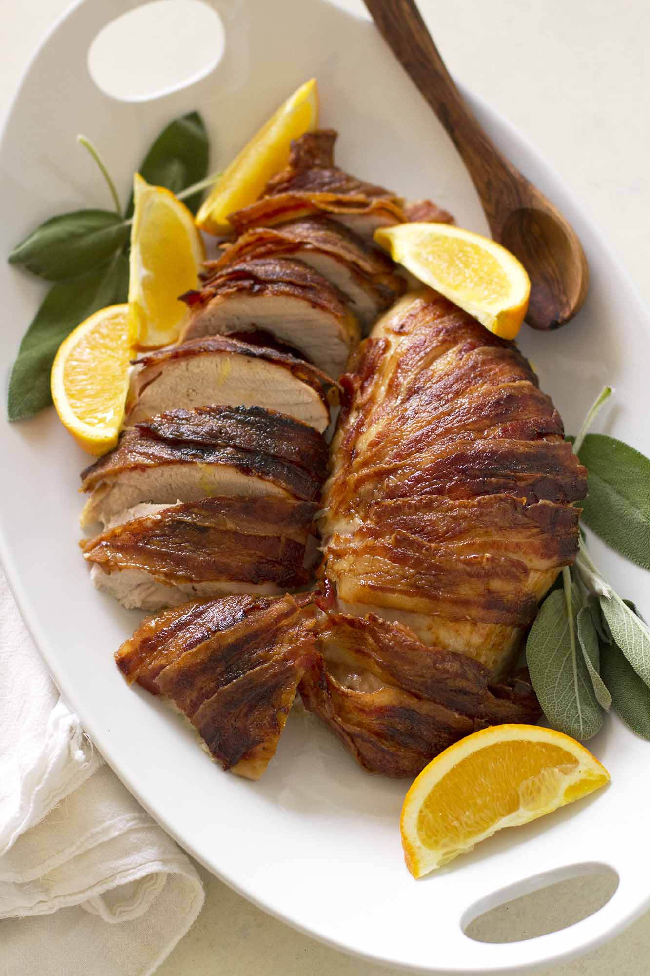 Bacon Wrapped Maple Bourbon Turkey Breast | girlversusdough.com @girlversusdough
