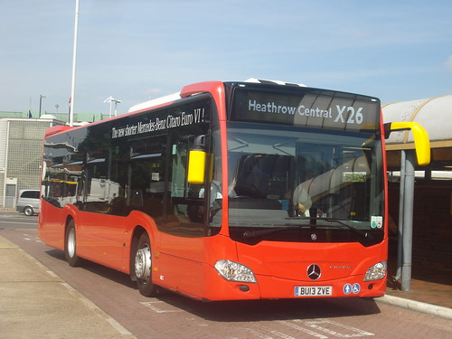 Evobus Quality Line MBK1 on Route X26, Heathrow Central