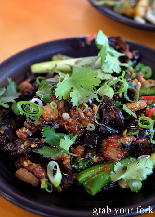Eggplant sambal, black fungus and coriander at Good Luck Pinbone in Kingsford