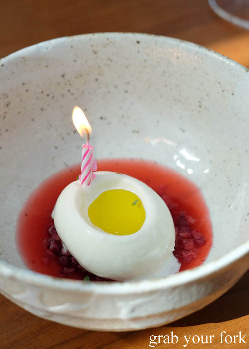 Douglas Fir with rhubarb, raspberry and olive oil at LuMi Dining in Pyrmont Sydney