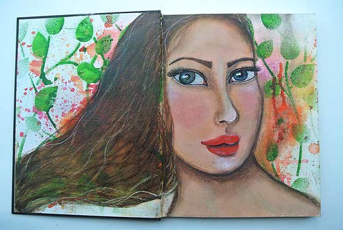 Mixed media girl from my art journal1