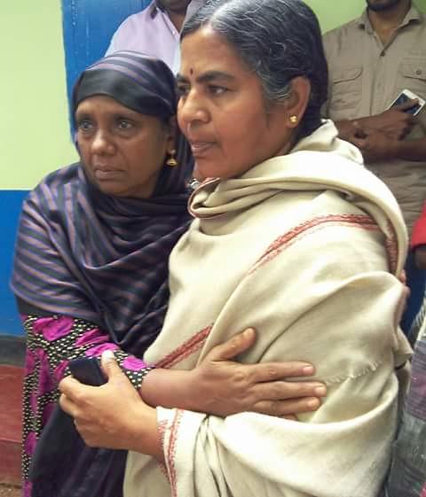 Radhika Vemula consoling Faisal's mother Meenakshi at her residence at Kodinchi in Malappuram.