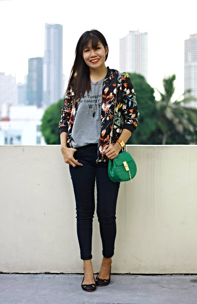 floral bomber jacket, sammydress, bomber jacket, crossbody bag, chloe inspired bag, zara jacket