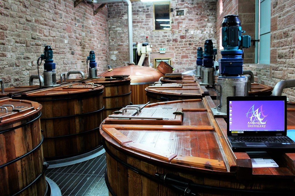 Washbacks and Mash Tun at Annandale Distillery, Scotland