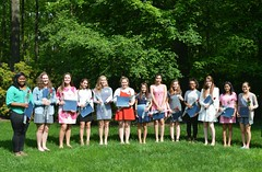 2016_ScholarshipTeaDSC_0099; left to right: Denise Spivey, Emily Swedish, Rebecca Chanin, Cate Donahue, Emma Brigaud, Harley Guzman, Jamie Maher, Eris Gee, Amy Hauer, Adria Backus, Marie Louise James, Nikhita Salgami, Amy Guan