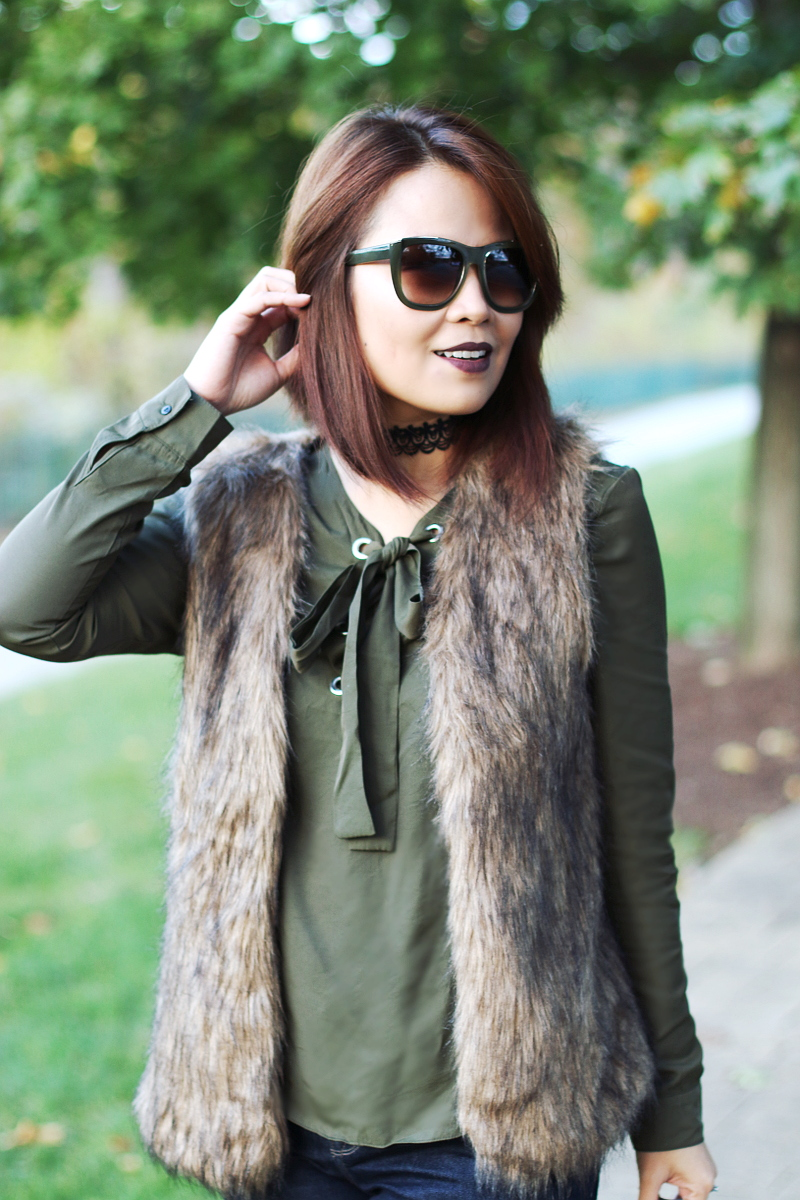 choker-olive-green-bow-blouse-lace-up-top-faux-fur-vest-4