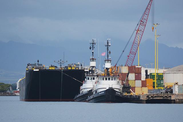 Hilo Bay and tugs