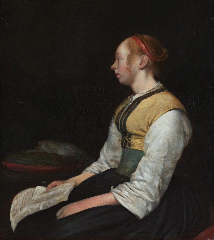 Gerard ter Borch - Seated Girl in Peasant Costume (c.1650)