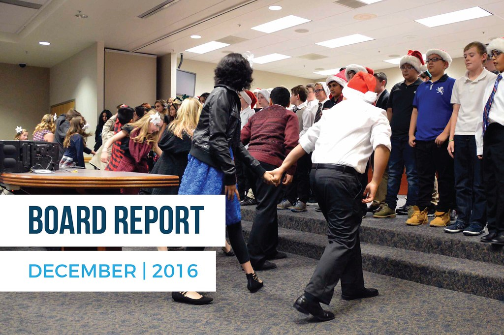 Whittier Elementary students dancing during board meeting with text 'Board Report December | 2016'