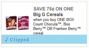 Halloween cereals coupon