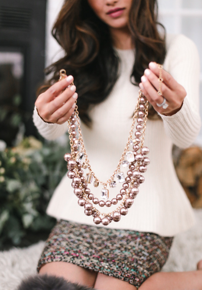 ann taylor pearl crystal statement necklace
