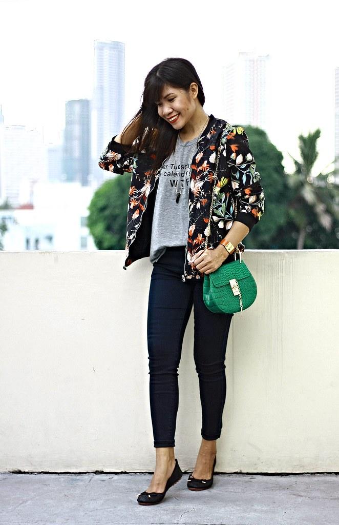 floral bomber jacket, sammydress, bomber jacket, crossbody bag