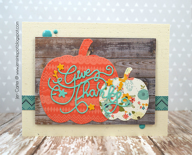 Jen Carter Stitched Pumpkins Ornate Thanks